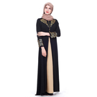 New Design Fabric Black 100% Polyester Dubai Long Dresses Muslim Women's Abaya Wholesale