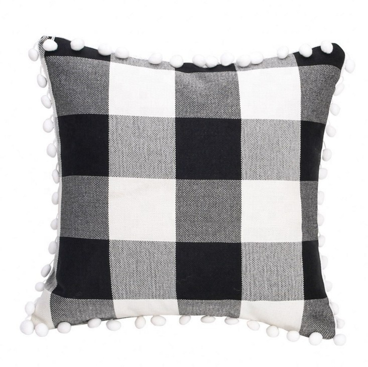 Nordic Black and White Buffalo Check Plaid Linen Cushion Cover New Design Custom Home Sofa Tassel Trim Pillow Cover With Pom Pom