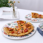 Flower Pattern Hotel ceramic dinnerware gold 8inch 10inch 12inch dishes white color porcelain Pizza plate