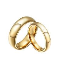 Simple Tungsten Wedding Couple Ring Set Smooth Hand Polishing 18k Italian Gold Jewelry