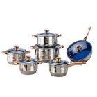 Heavy colorful design 12 Pcs kitchenware Belly Body Shape Stainless Steel nonstick Cookware Set