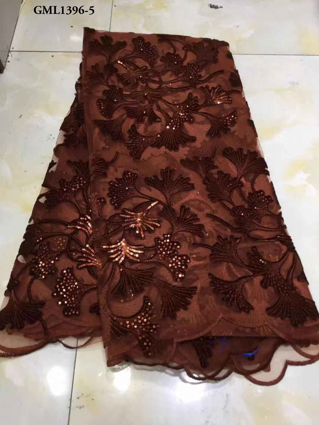 factory outlet good price french velvet fabric 2020 brown nigerian sequin lace for big wedding