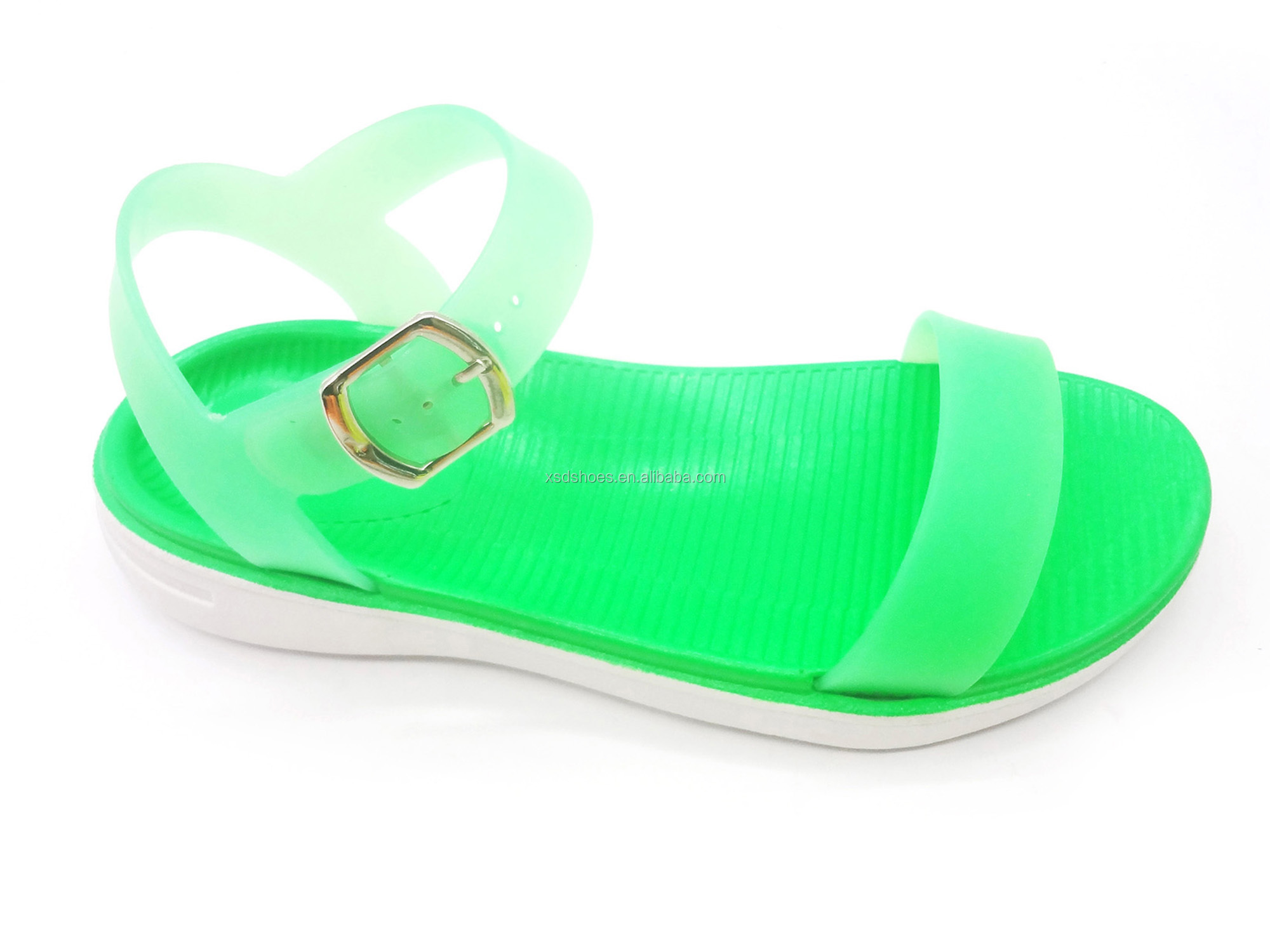 2019  High Fashion Ladies Shoes Flat Slippers PVC Fluorescent Color Women Sports Sandals