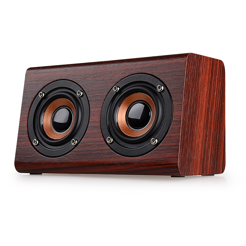 Kayu Bluetooth Speaker W7 Retro HI FI 3D Dual Loudspeaker Nirkabel Bluetooth Speaker dengan Hands-Free Kotak TF AUX di