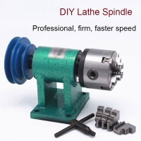 Woodworking Lathe Spindle with 3-jaw 80mm Chuck Belt Pulley Drive Rotary Seat