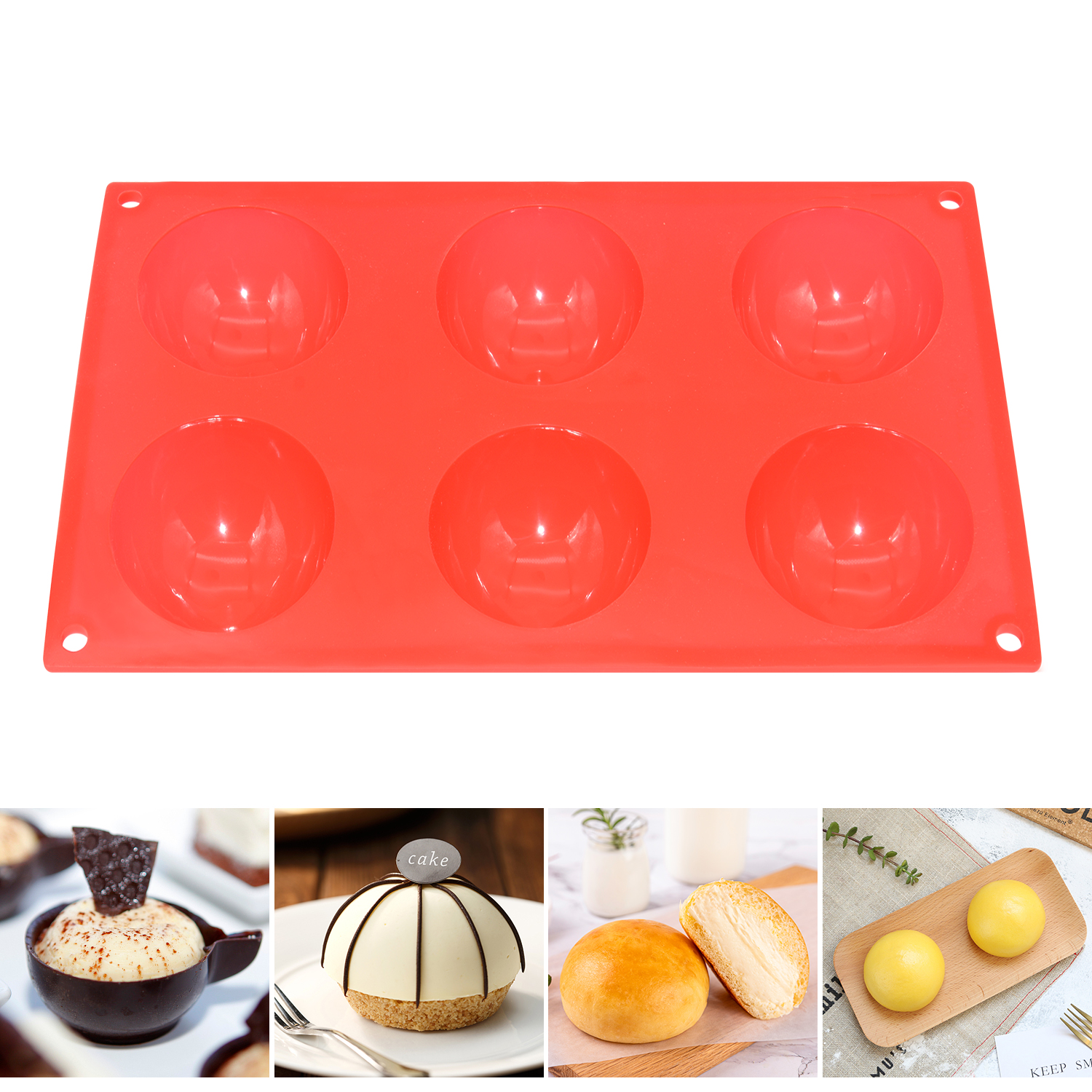 Benhaida Silicone 6 Holes Domed Round Shape Baking Mold Cake, Hemispherical Chocolate Jelly Pudding Baking Mold