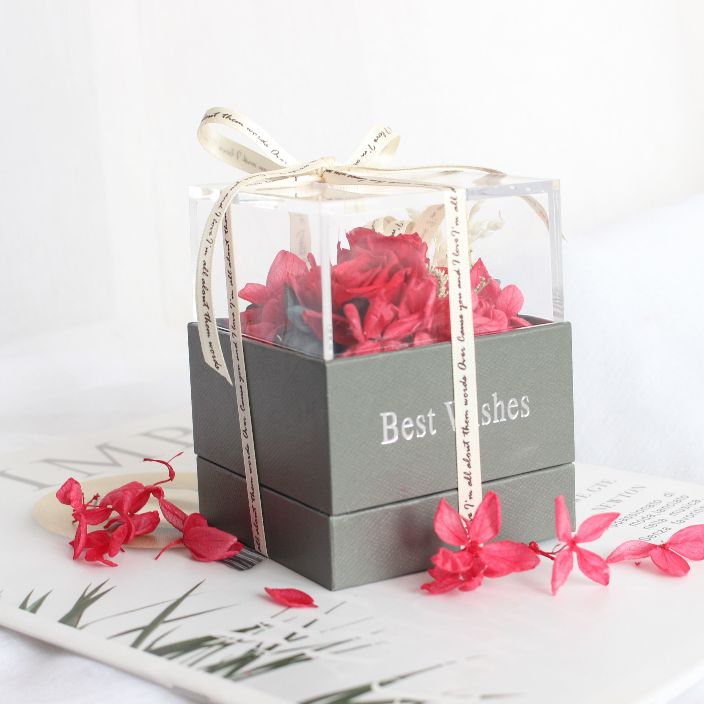 2019 New Design Red  Preserved Flower Rose Jewelry Box for Valentines Day  Gift