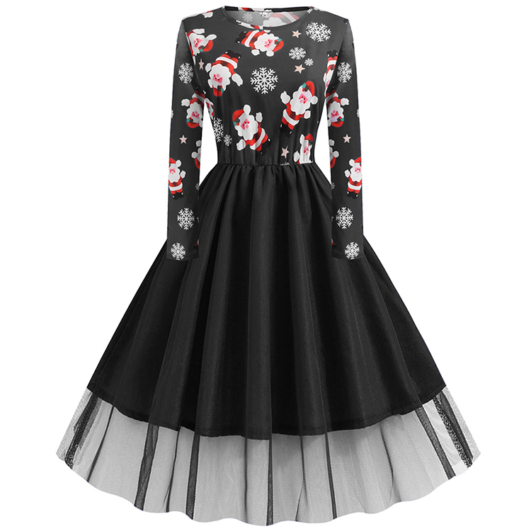 Hot Selling Round Neck Printed Women Christmas Dresses Costume