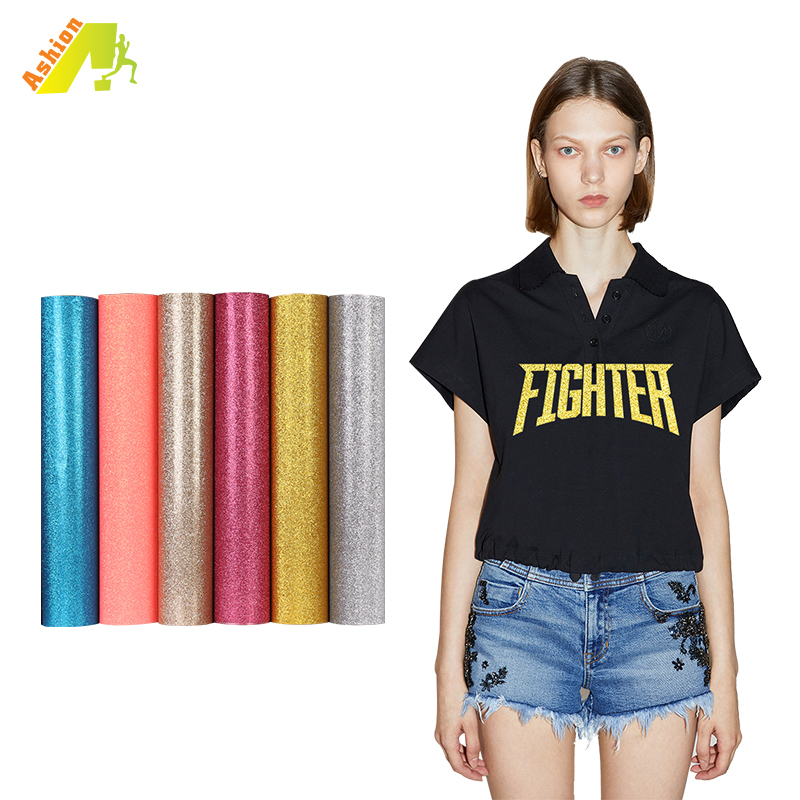 Korea quality glitter heat transfer vinyl roll HTV glitter adhesive film sheet easy to cut and weed for garments