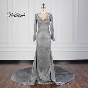 Handmade Beaded Silver Grey Mother of The Bride Dress With Sleeves long sleeve Sweetheart mermaid Crystal long evening dress