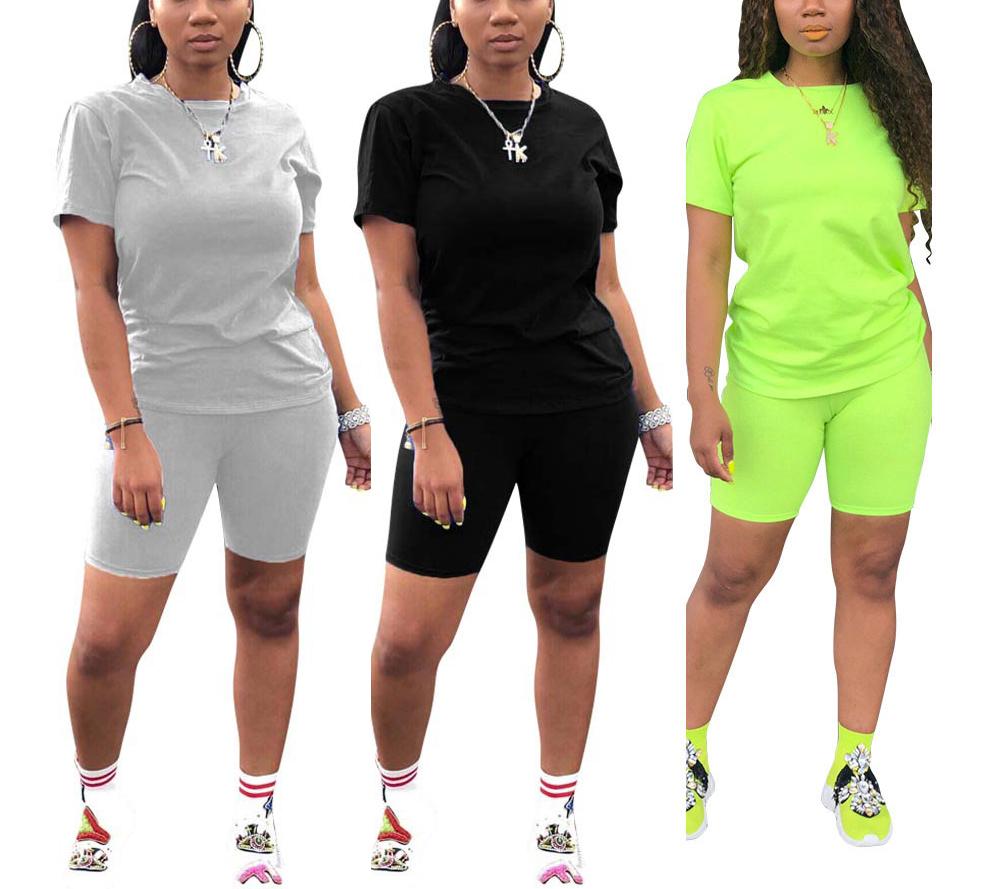 Toptan kadınlar yüksek bel artı boyutu beyaz siyah örgü pamuk 2 parça Biker şort tüm Set kadınlar