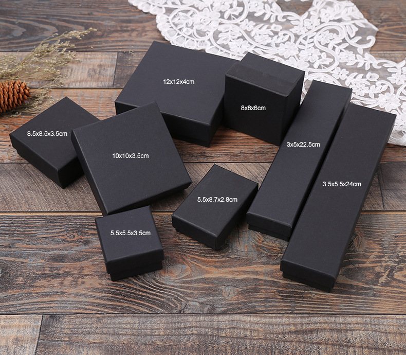 product-Dezheng-Customized necklace ring eyelash packaging box black paper jewelry gift box with hea-2