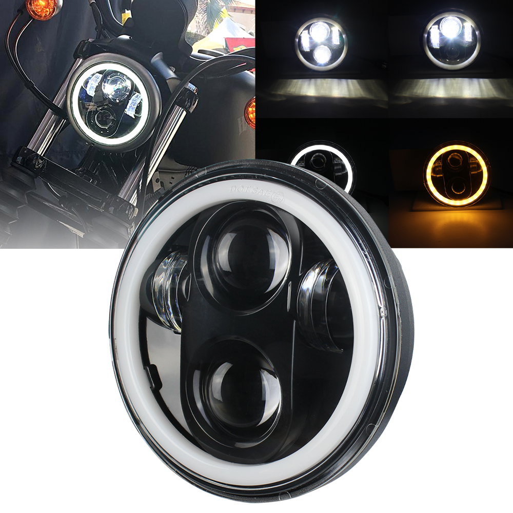 Factory 5 3/4 5.75 Inch LED Headlight Halo with DRL for  Motorcycles