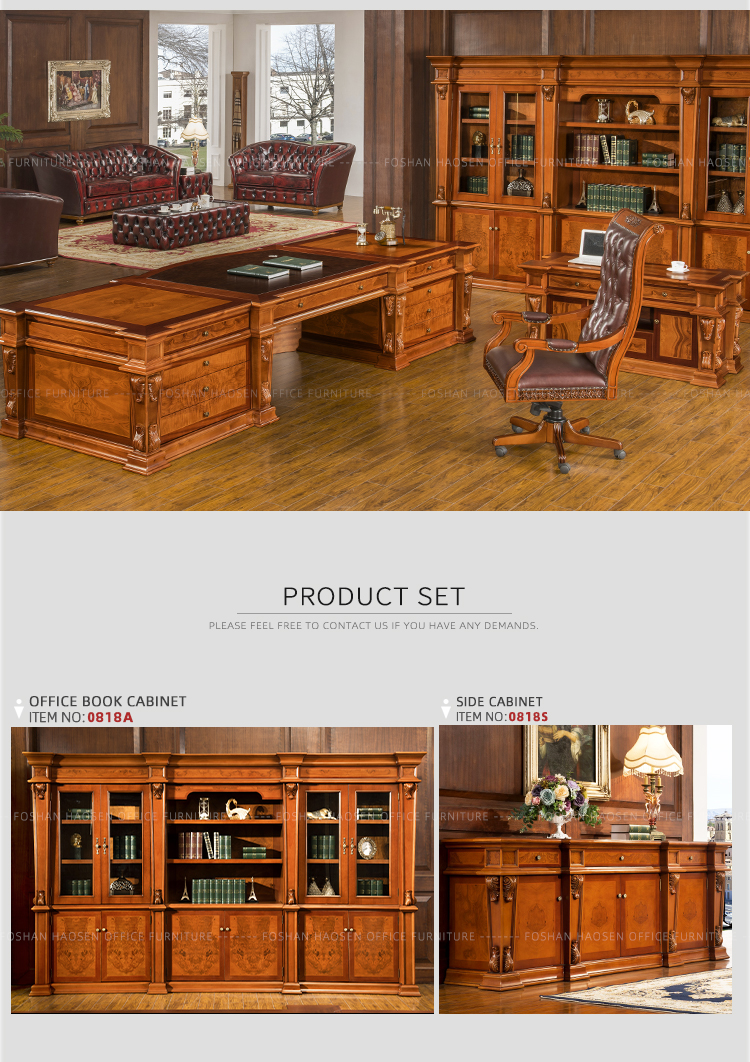 Foshan HAOSEN High Quality government office desk table 0818 big size chairman desk detail show manufacturer wholesale desk table set book cabinet