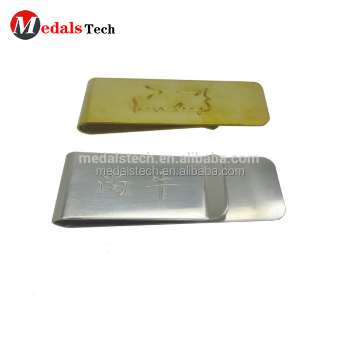 Cheap 304 stainless steel brush blank money clip with customized laser logo