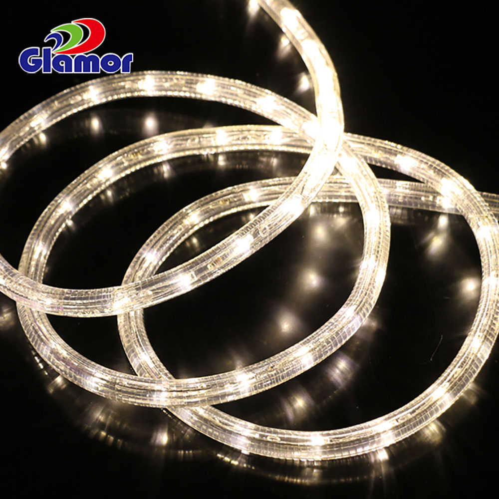 24V outdoor Christmas white embossed PVC Led rope lights fix on Track need to Connect to power supply