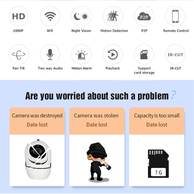 Podofo HD 1280 720P IP Camera Wireless Home Security Camera 360 WIFI Audio Night Vision Cloud CCTV Camera