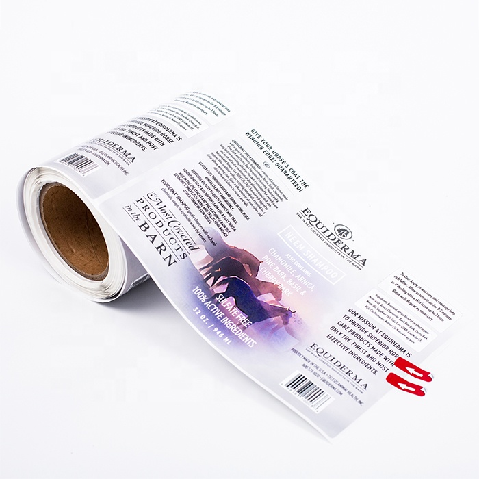 Animal use big size custom waterproof shampoo spray bottle label printing etiquetas roll sticker with strong glue