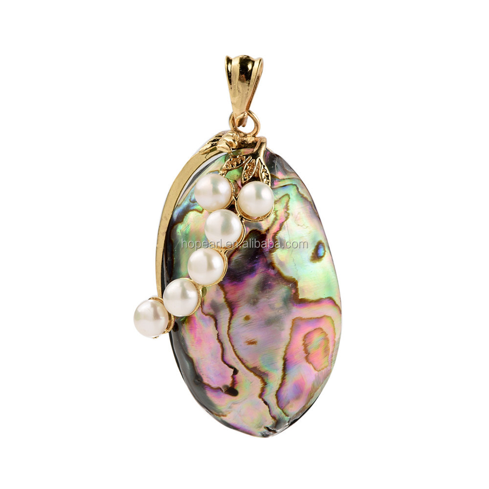 MOP175 Bohemian Rainbow Abalone Paua Genuine Shell Pendant with White Freshwater Pearls