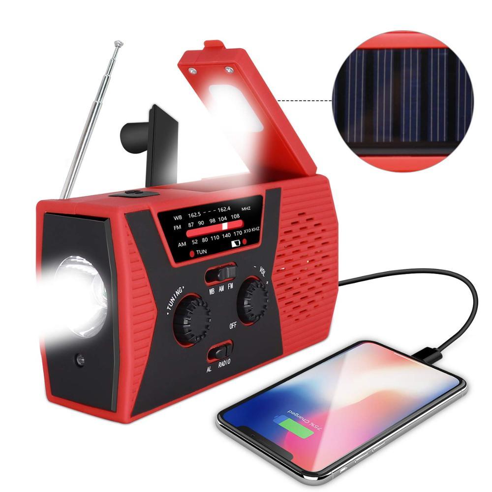 Solar Crank Dynamo Portable Weather Radio with AM/FM/NOAA 2000mAh power bank reading lamp