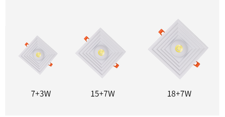 2020 New Kind LED Panel Light Square diffuse reflection 15W+7W 175*175MM