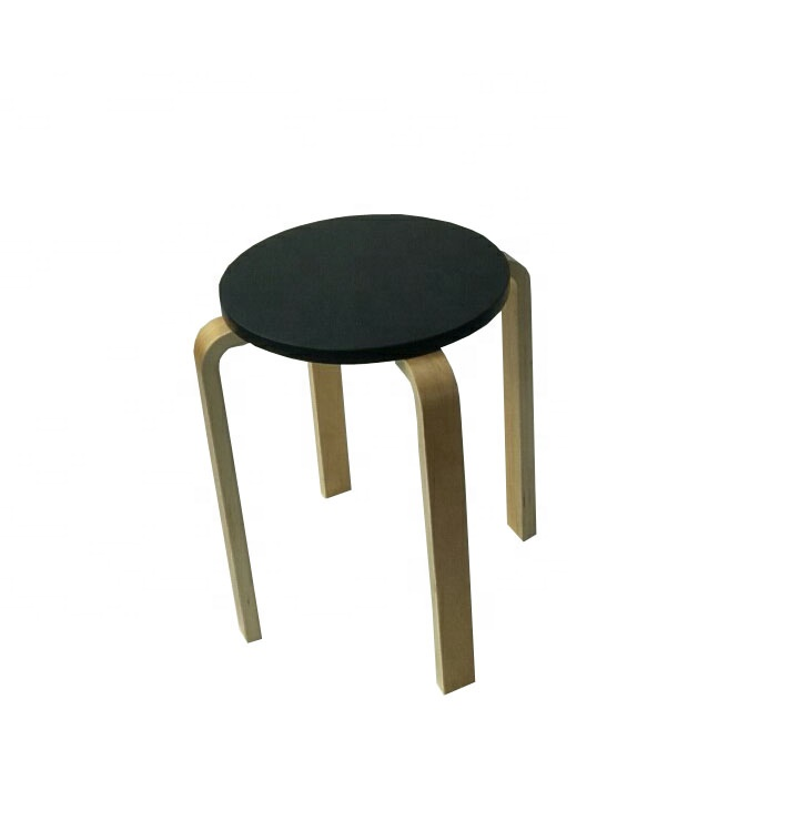 BSCI FSC factory Black color Bentwood stool <strong>wood</strong> ,stackable chair for garden living room and class room