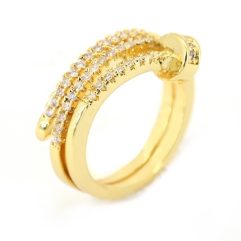 Ladies Nail Design Rings Wholesale Gold Plated Ring