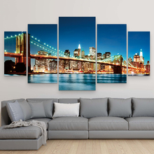 Goedkope grote muur pop art New York <span class=keywords><strong>Brooklyn</strong></span> Bridge landschap olieverf foto op canvas