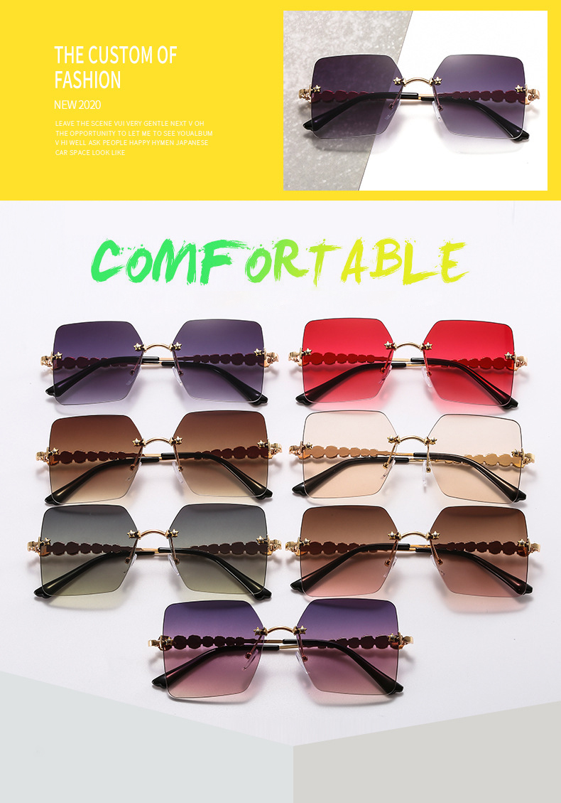 New Arrivals Rimless Female Diamond Glasses Oversized Women Fashion Sunglasses Wholesale