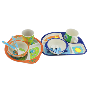 Eco Friendly Customizable Bamboo Fiber Children's Tableware / Kids Dinner Set