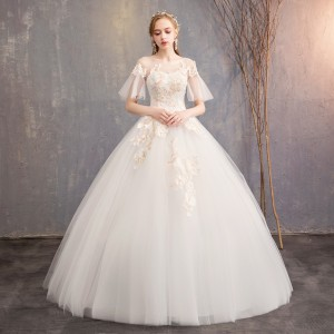 Z55576B Elegant White Skirt Vintage Long Length Wedding Dress