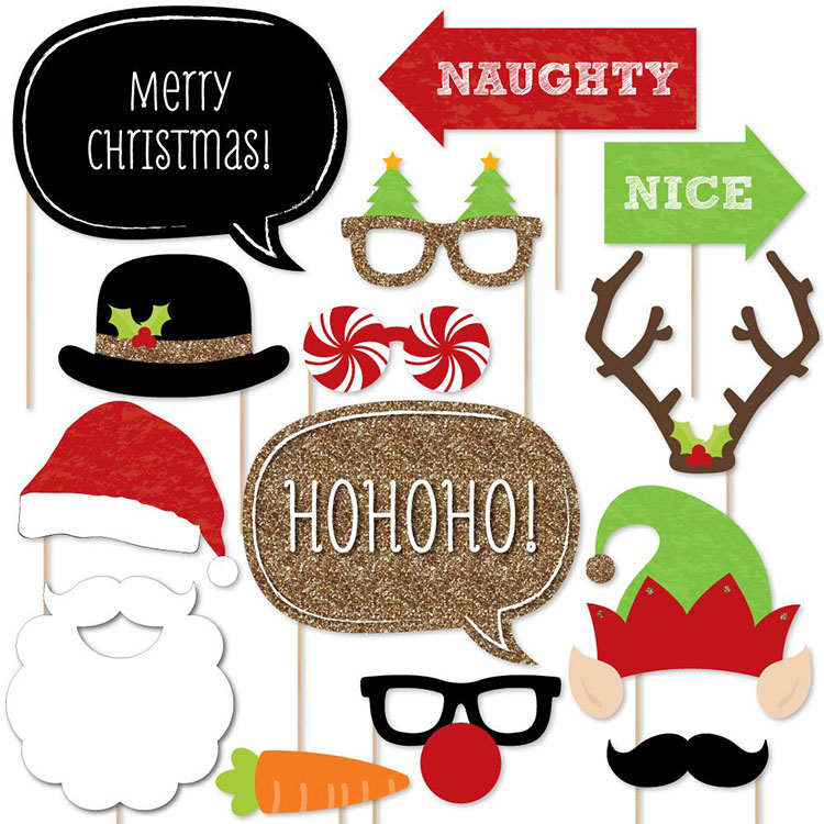 Nicro 20 PCS Funny Happiness Christmas Party Photo Booth Props Kit
