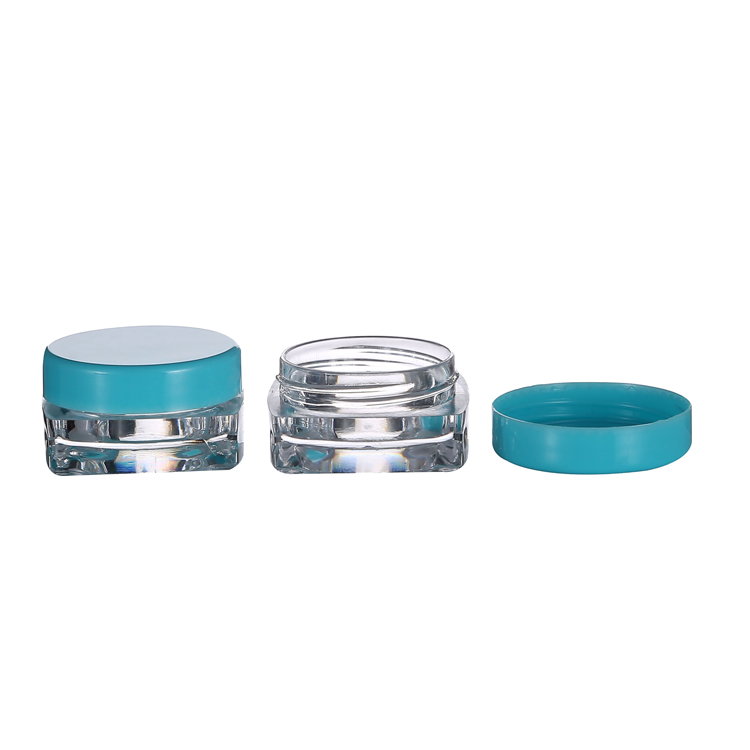 3g Square plastic jar with blue round lid for nail powder glitter clear 5g PS jar with colored lid