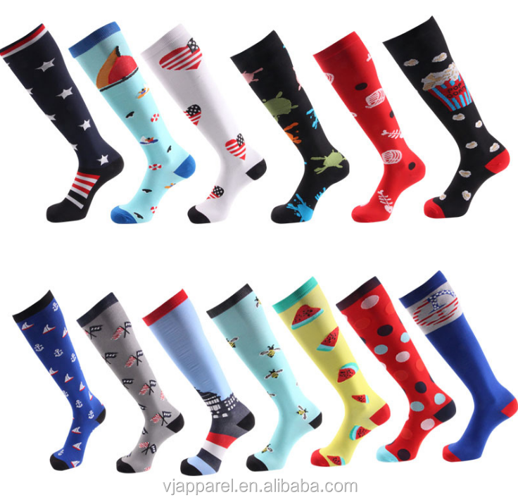 wholesale custom design 2030mmhg colored dots football medical knee high running cycling sport compression socks for men