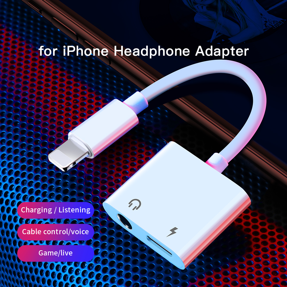 mobile phones 3.5mm splitter usb audio 2 in 1 adapter for iphone