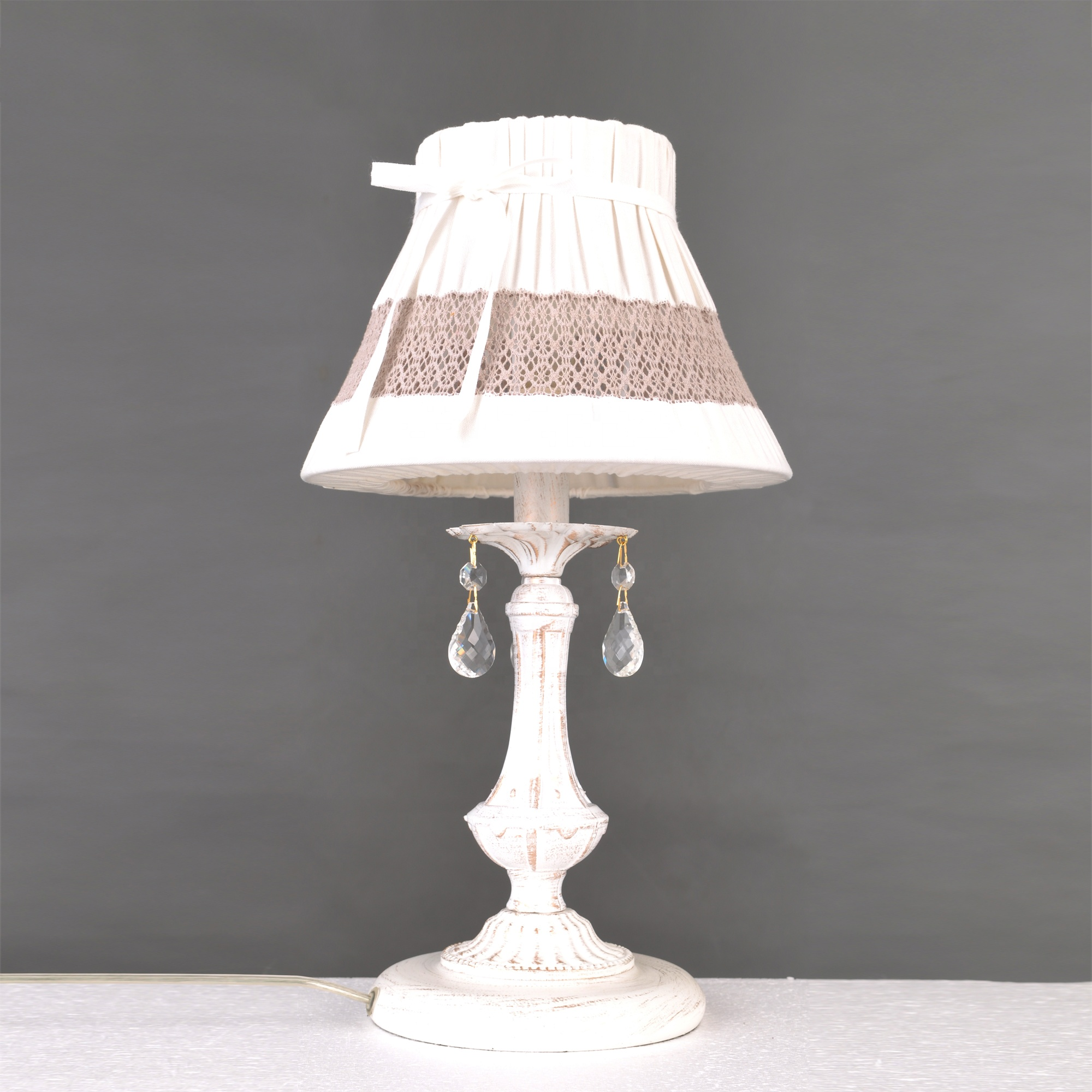 Vintage Rustic White Lace Shade Table Lamp For Child's Room Bedroom Beside Lamp Desk Light Decor