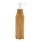 New bamboo outer cover white plastic inner empty cosmetic packaging pump bottle for makeup water/liquid lotion 60ml 80ml 100ml
