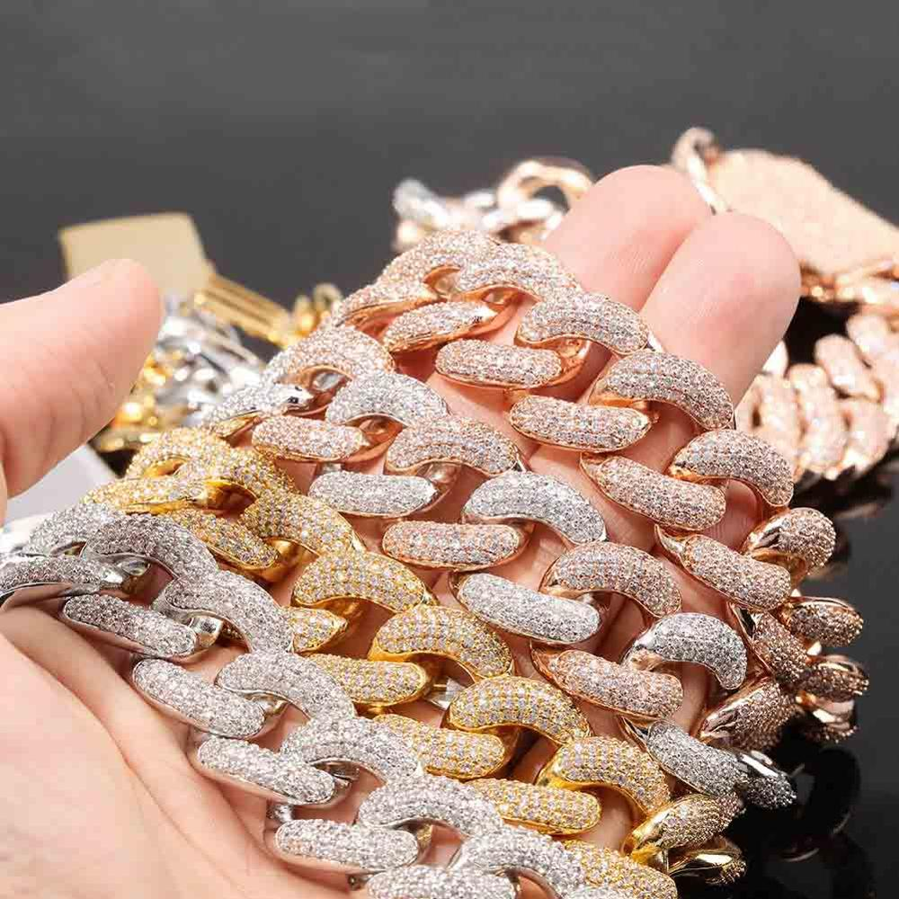 18mm Box Clasp Micro Pave Iced CZ Cuban Link Necklaces Chains Gold Color Luxury rose gold Bling Jewelry Fashion Hiphop For Men
