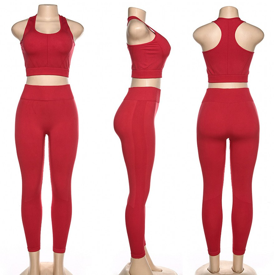 2 ชิ้นชุดออกกำลังกายผู้หญิงถังและ Leggings ฟิตเนสกีฬา GYM เสื้อผ้าโยคะชุด