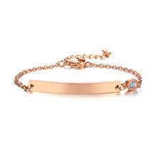 Браслет из розового золота, персонализированный браслет из кубического циркония, оригинальный браслет из нержавеющей стали, подарки для ма...(Китай)