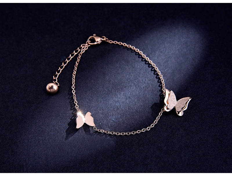product-Rose Gold Color Plain Grind Arenaceous Butterfly Design Handcuff Bracelet Bangles-BEYALY-img