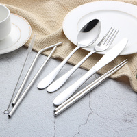 Reusable Cutlery Stainless Steel Office Utensil and Metal Straw Portable Travel Cutlery Set with Case