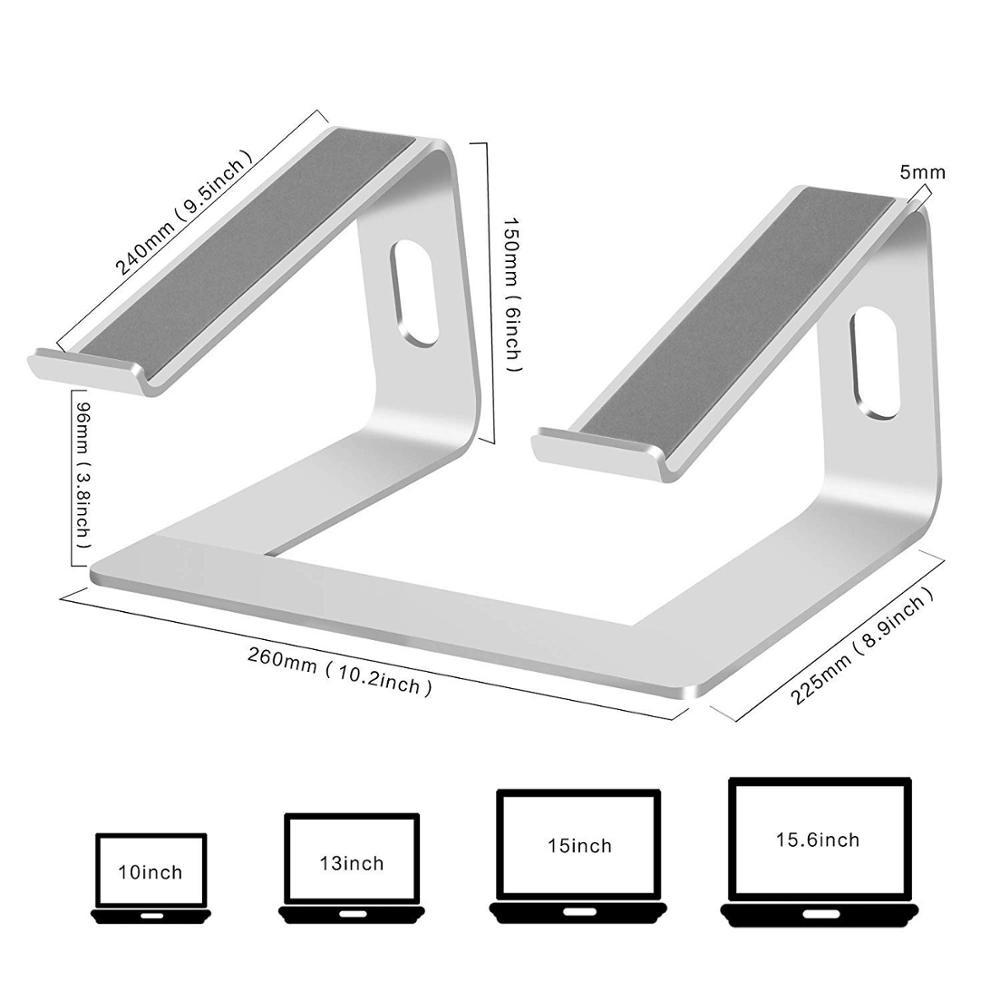 Ergonomic aluminum desk notebook holder detachable laptop stand for Apple for MacBook Air Pro for Dell for HP 10-15.6