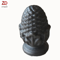 Hot sale rustic cast iron garden ornaments sphere factory direct cast iron metal fence top ornaments for door gate finial