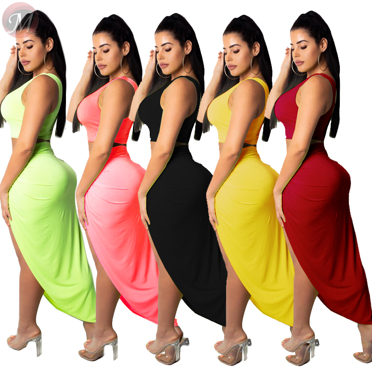 0022803 wholesale sexy skirt set solid color sleeveless Skirt casual suit plicated split asymmetric women two piece skirt set