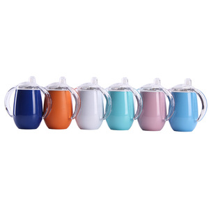 Customized 10oz baby sippy cup with lid stainless steel double wall vacuum baby feeding tumbler with double handle