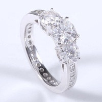 950 platinum ring 7.5mm main stone small moissanite ring