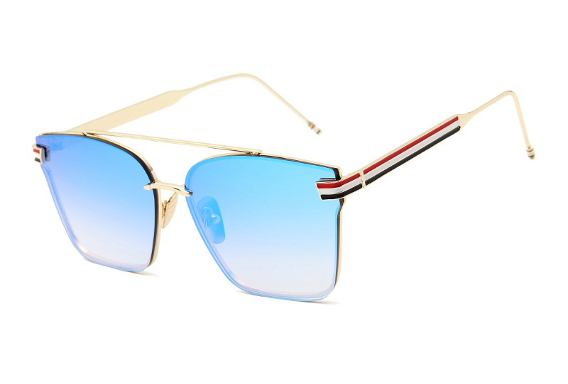 Tri-color Striped Metal Frame Oversized Logo Printing Male Female Sunglasses