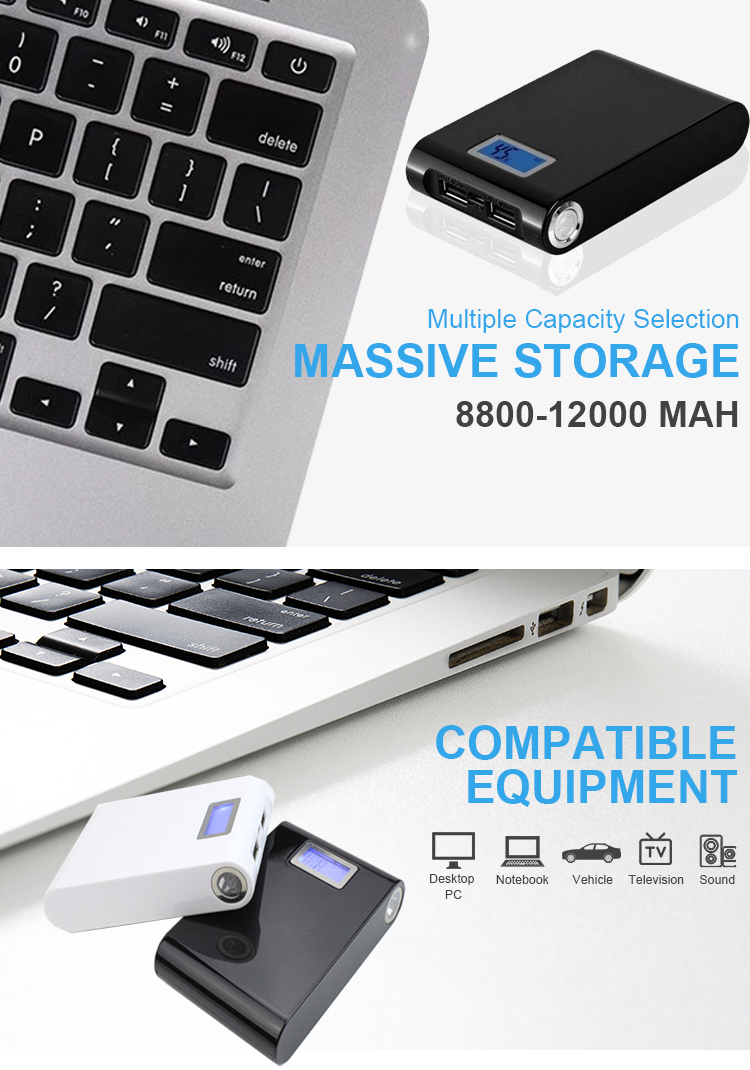 Manufactory Portable High Capacity Dual Usb Power Bank 12000Mah with Ce Rohs