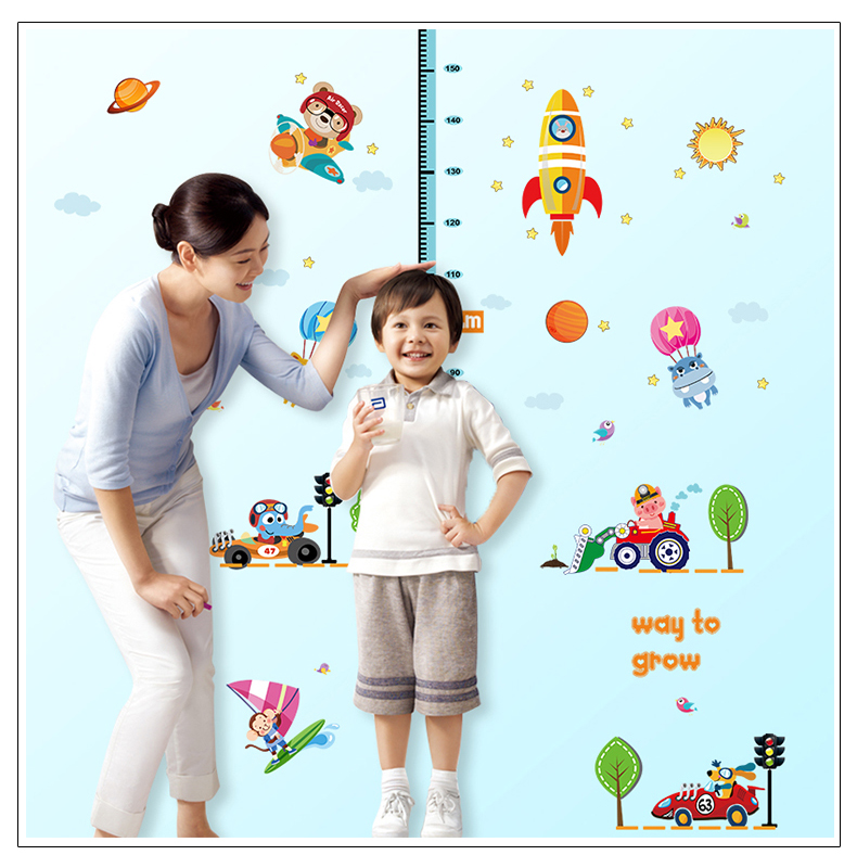 YIYAO Height Chart Wall Stickers Kids Growth Measure Wall Decals